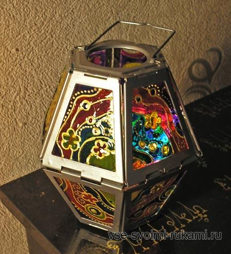 роспись по стеклу - декор фонаря для свечей