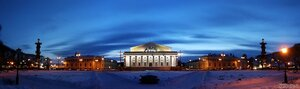 Синий вечер Питера (вечер, здание Биржи, панорама, Петербург, Стрелка ВО)