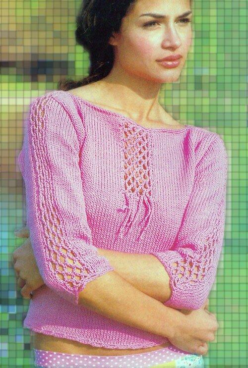 Романтичный пуловер спицами и крючком