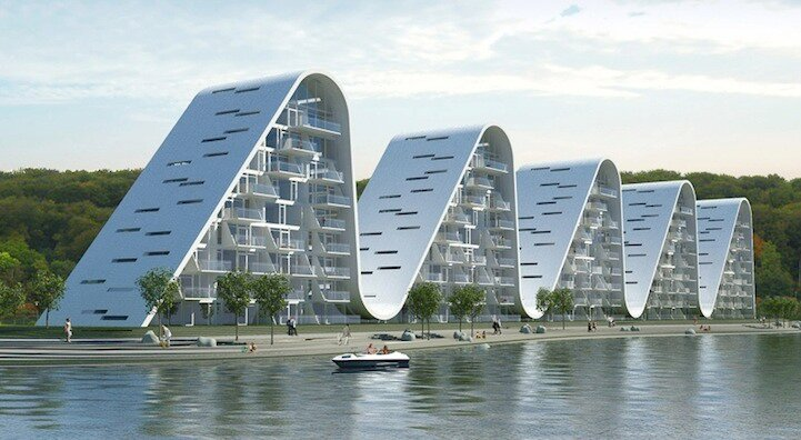 The Wave Apartments.Designed by Henning Larsen Architects