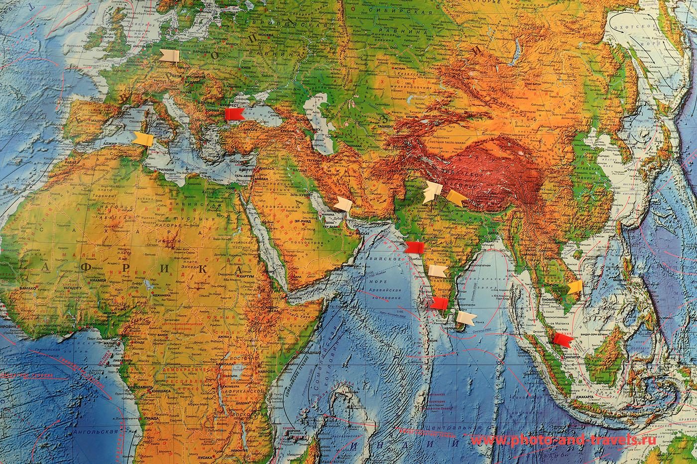 Фото 1. Карта с отметкой стран, где побывал на отдыхе автор отчета о путешествии по Индии.