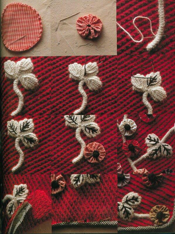 вышить цветы на вязаном полотне фото сих