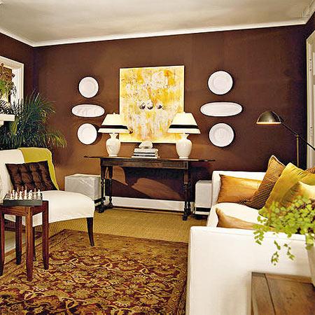 шоколадный цвет стены гостиной