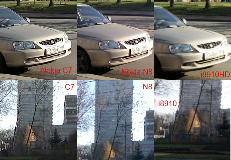 Сравнение видео - Nokia C7, Nokia N8, Samsung i8910HD.