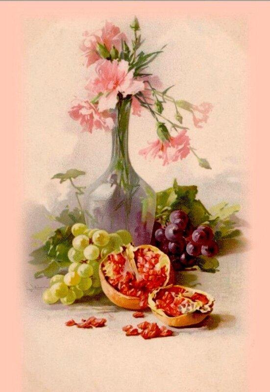 К. Кляйн. 137. Гвоздики, виноград, гранаты