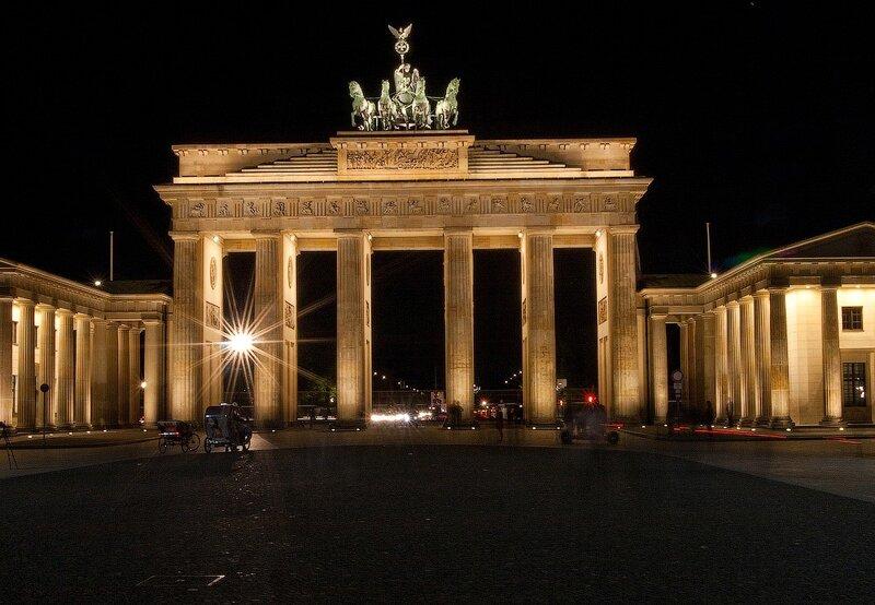 фотографии ночной берлин, германия отчёт, германия фотоотчёт, бранденбургсике ворота, парижская площади