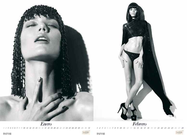 Шейла Маркес / Sheila Marquez by Nico in Harper-s Bazaar Spain 2011 calendar - январь-февраль