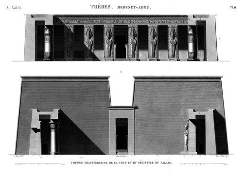 Дворец Рамсеса III в Мединет-Абу, фасады перистильного двора
