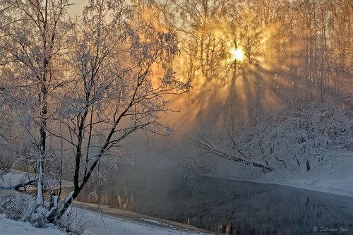 Солнечное утро морозного дня.