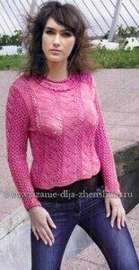 Женский вязаный свитер спицами
