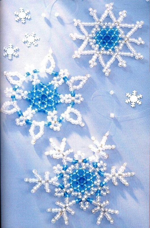 Доброго вечера друзья, нашла красивые варианты по созданию снежинок из бисера и бусин, описание правда на чешском...