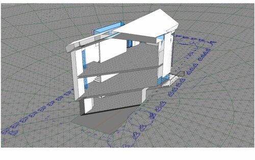 Разрез по гостиной и балкону над фундаментной плитой, вид на лестницу на второй этаж