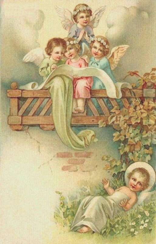 Открытки с ангелочками ретро, днем рождения