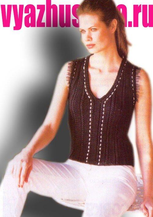 Описание вязания жилета спицами