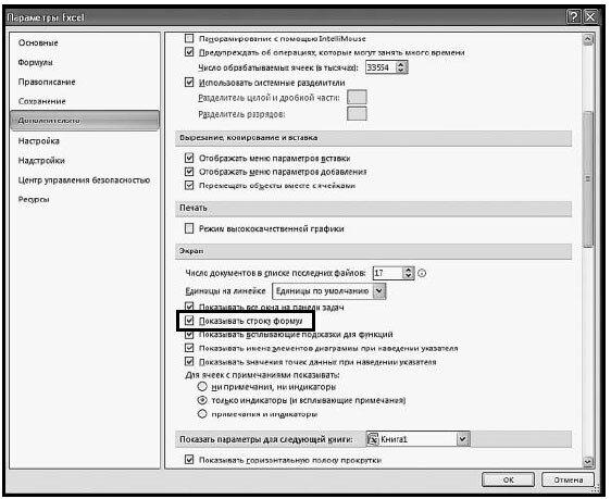 Рис. 1.17. Окно «Параметры Excel». Пункт «Показывать строку формул»