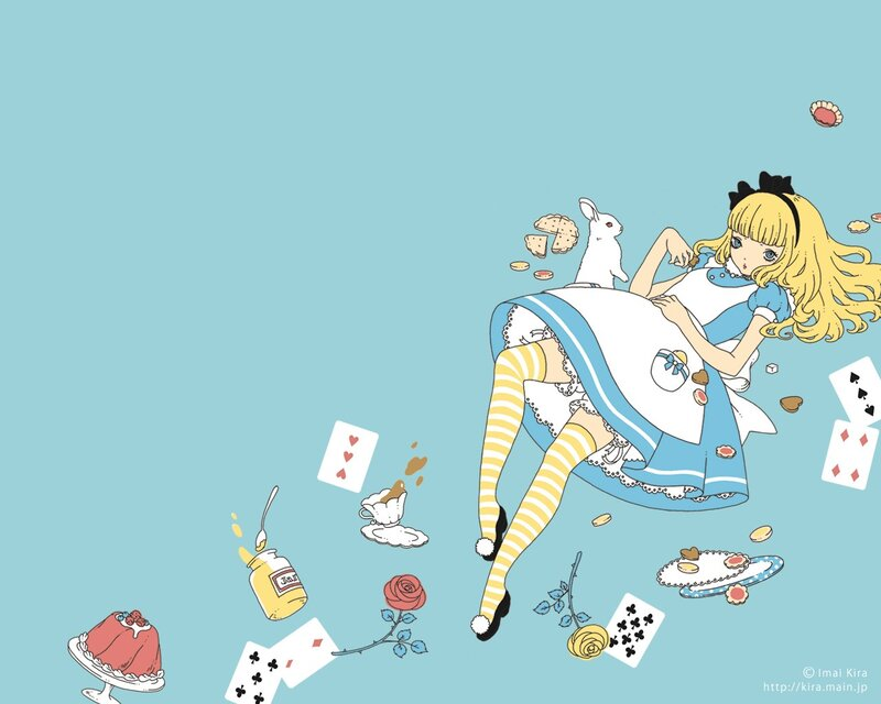 Konachan.com - 55022 alice in wonderland blonde hair blue blue eyes bunny food lolita fashion
