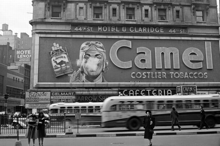 Camel cigarette advertisement. Times Square, Feb 1943.