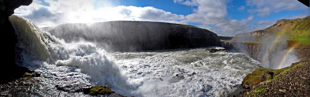 Водопад Gullfoss. Панорама