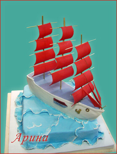 торт на выпускной 11 класс в виде парусника песни Співачка -Там