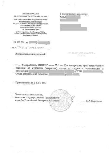 Справка об открытых счетах юридического лица