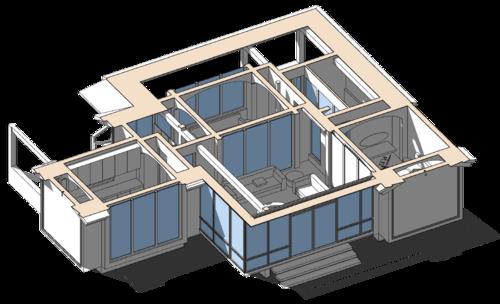 разрез сечение по кровле на уровне балок перекрытия, проект сблокированного модульного дачного жилого дома с остекленной террасой