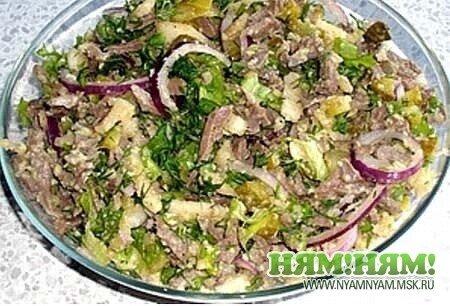 Салат из сердца с грушей