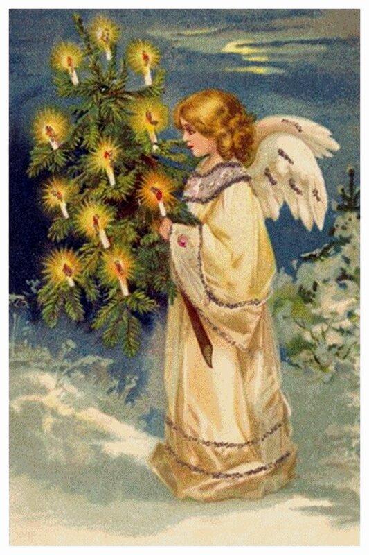 Посмотреть ещё дореволюционные рождественские открытки можно тут и тут