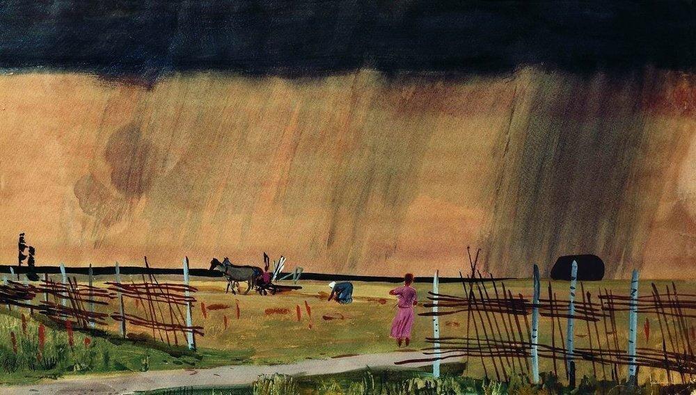 Дейнека, 1934 Гроза заходит. Дождь.