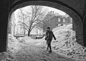 Из арки (арка, дерево, зима, монохром)