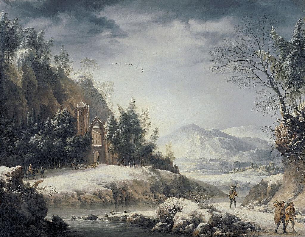Foschi, Francesco - Зимний пейзаж с фигурами, 1750-80, 48 cm x 62 cm, Холст, масло.jpg