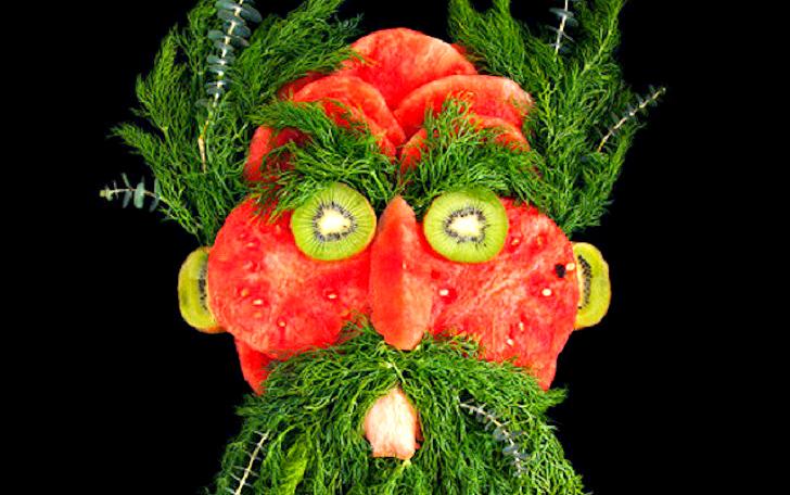 Яркие портреты из сочной зелени и свежих продуктов