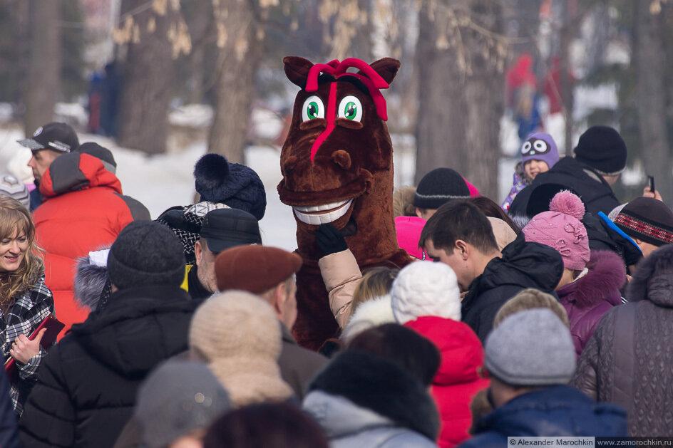 Человек в маскарадном костюме коня