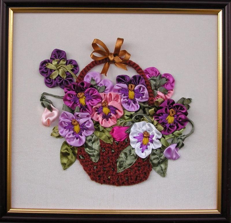 Вышивка лентами картинки цветы 56