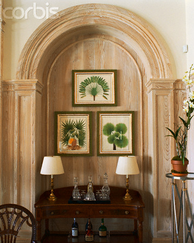 Table Set in Arched Niche with Exposed Wood