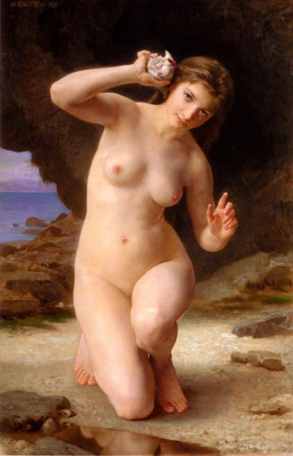 Бугеро, девушка с морской раковиной.1885 г.