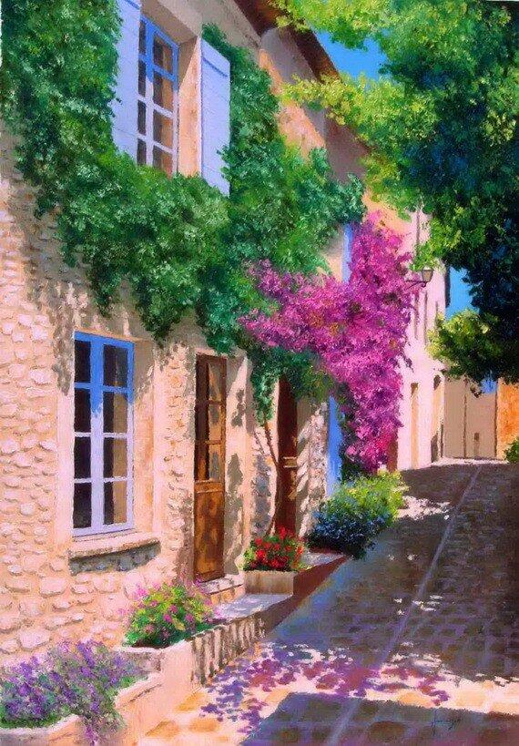 Скачать яркие летние картинки от художника Jean-Marc Janiaczyk.