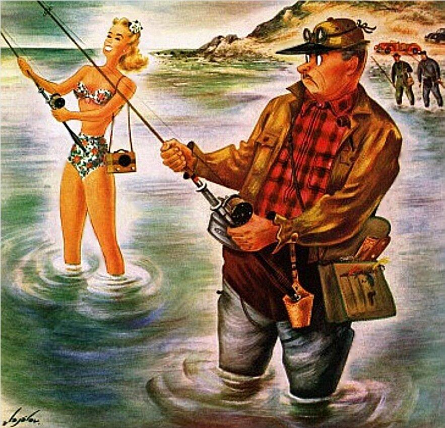 Рыбак, ловящий бикини 1947г. Аладжалов Константин (1900-1987)