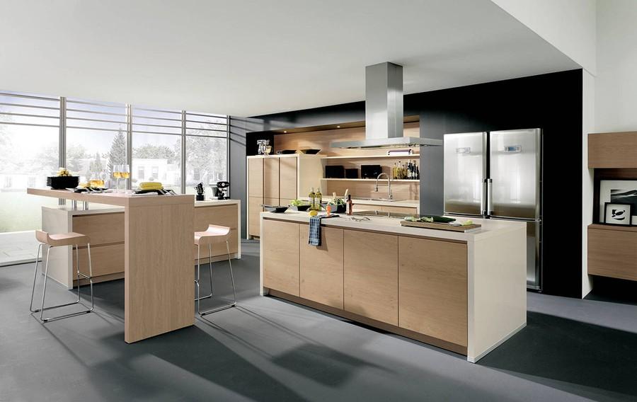 14. Те, кто ценит немецкое качество и современный дизайн, будут покорены деревянной кухней без ручек
