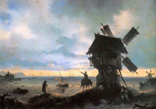Айвазовский. Ветряная мельница на берегу моря.jpg