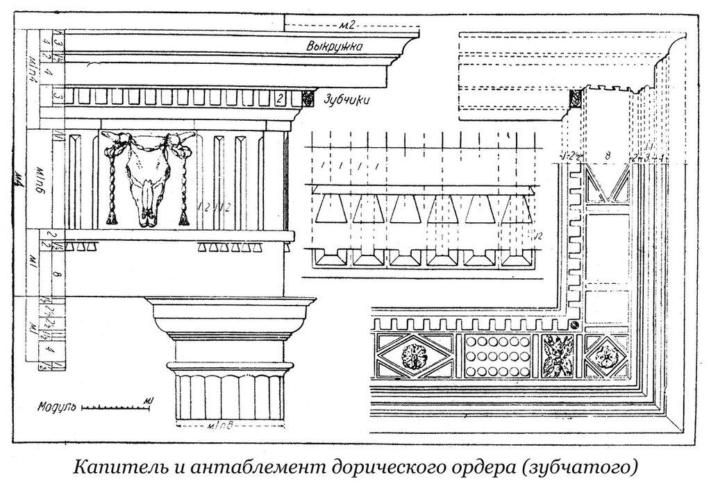 Капитель и антаблемент зубчатого дорического ордераа