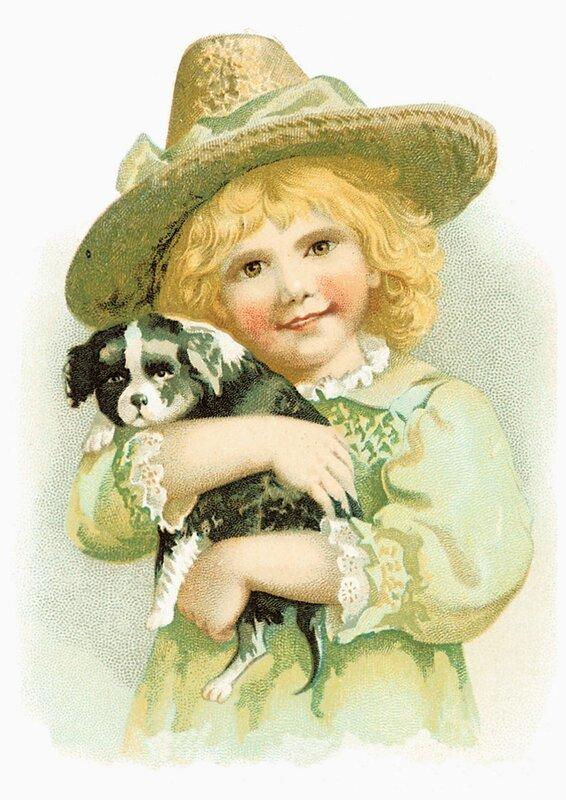 Коллекция винтажных картинок: дети