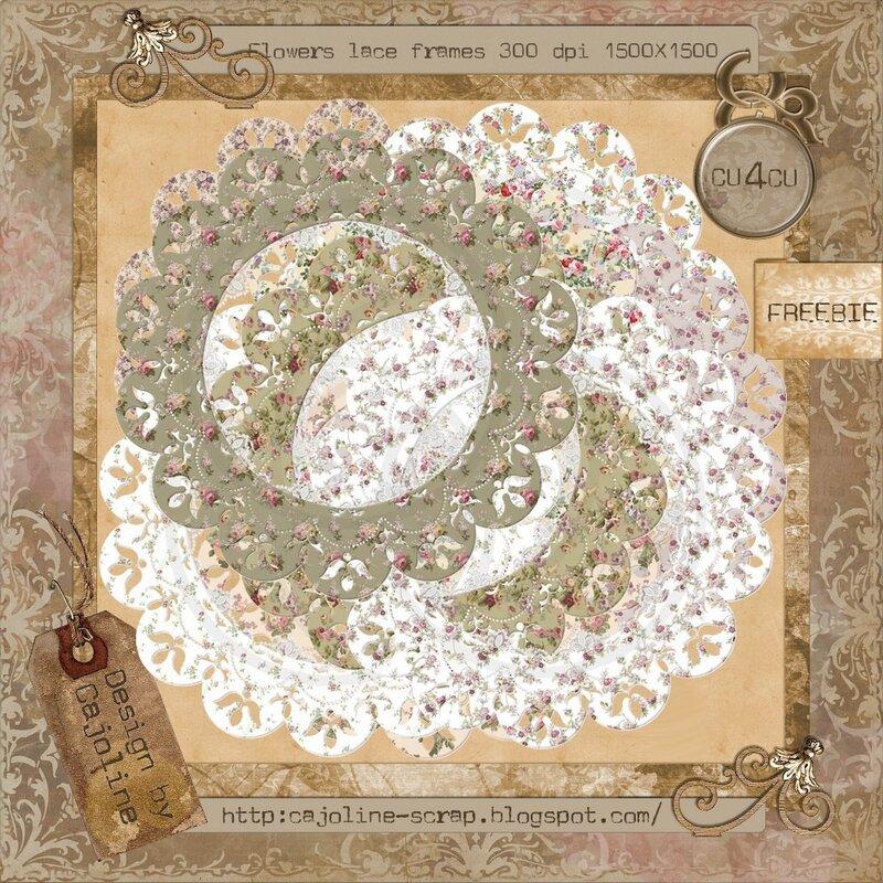 Cajoline - 9 lace flowers frames.
