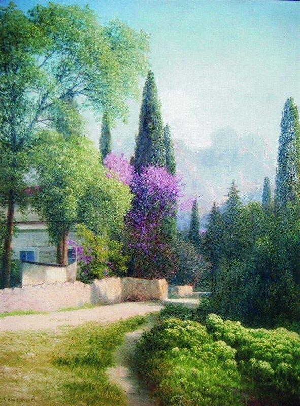 Кондратенко Гавриил Павлович (1854-1924). Весна в Крыму. Вид на Ай-Петри. 1880-е
