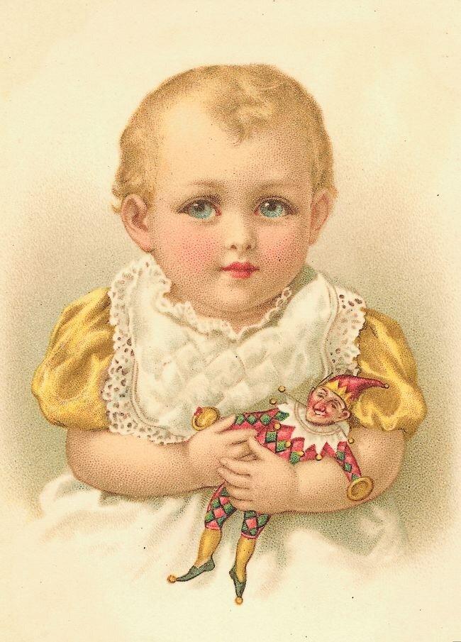 Младенец винтажная открытка