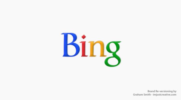 логотип Bing выглядит как Google - бренды которые поменяли местами