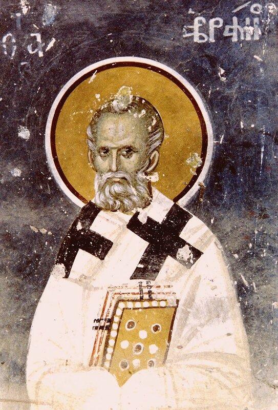 Священномученик Аврамий, Епископ Арвильский. Византийская фреска.