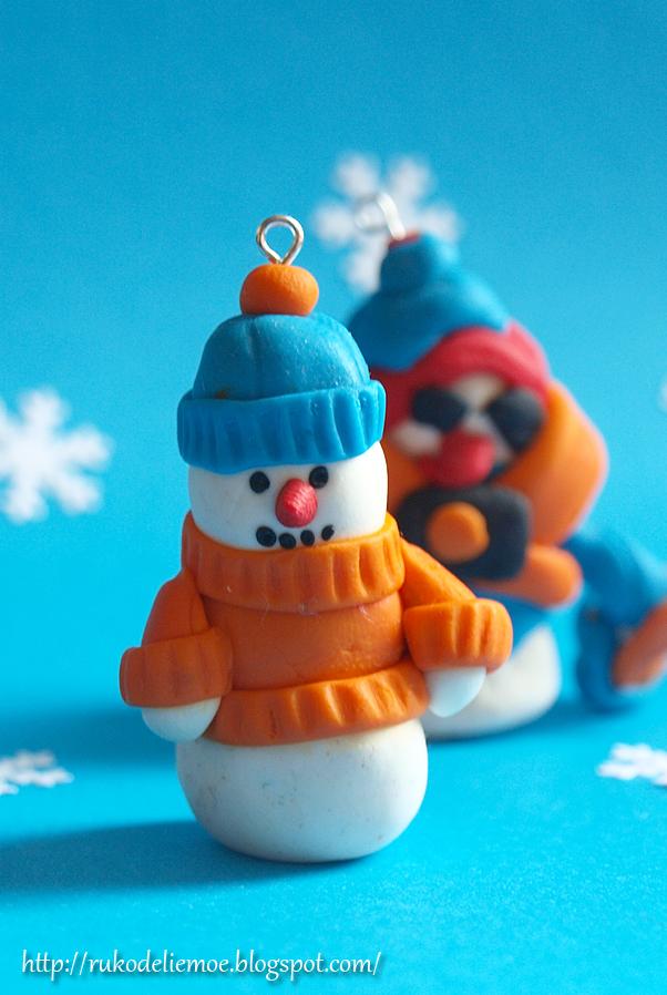 новогодние игрушки, снеговик из пластики