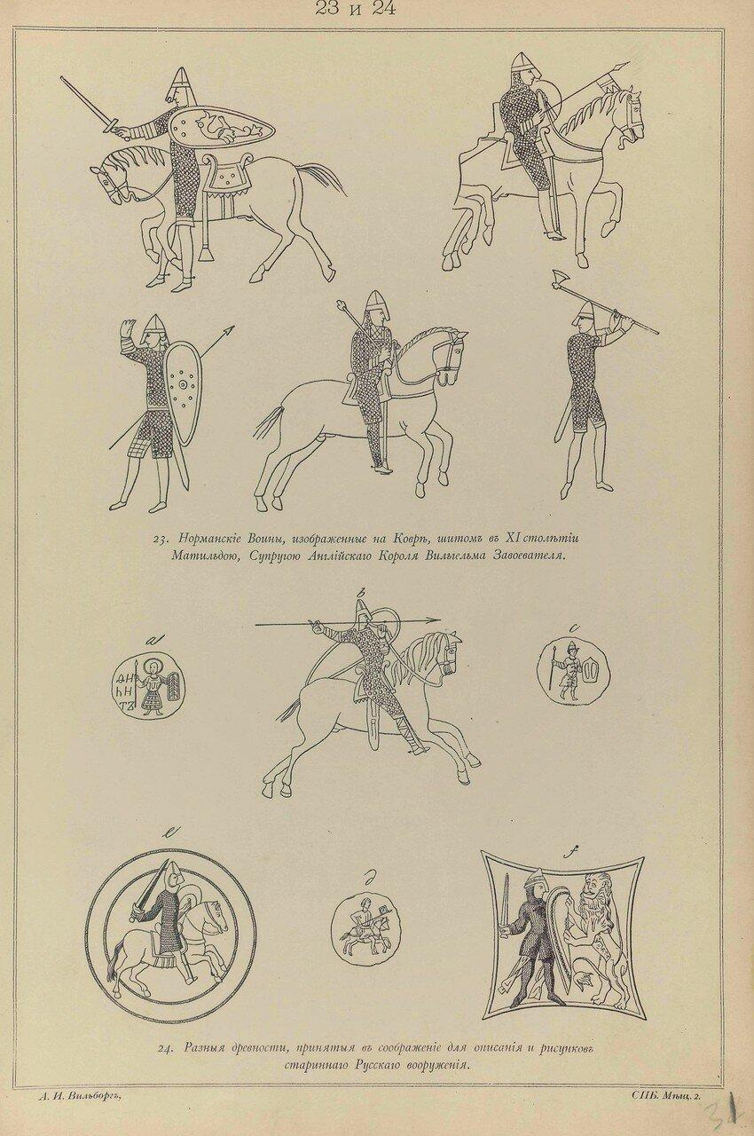 23. Норманский воин, изображение на ковре, сшитом в XI веке. 24. Разные древности, принятые в соображение для описания и рисунков Русского вооружения