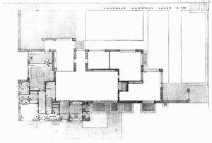 Дом Германа Ланге в Крефельде, архитектор Мис ван дер Роэ, план 1-ого этажа