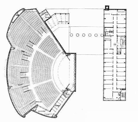 Дом культуры рабочих в Хельсинки, архитектор Алвар Аалто, план